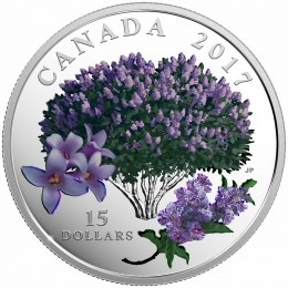 2017 Canada Fine Silver $15 Coin - Celebration of Spring: Lilac Blossoms