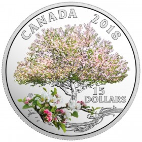 2018 Canadian $15 Celebration of Spring: Apple Blossoms Fine Silver Coloured Coin