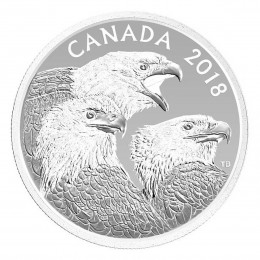 2018 Canadian $15 Magnificent Bald Eagles - 1 oz Fine Silver Coin