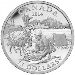 2014 Canadian $15 Exploring Canada: The Gold Rush - Fine Silver Coin