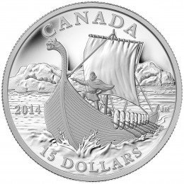2014 Canadian $15 Exploring Canada: The Vikings - Fine Silver Coin