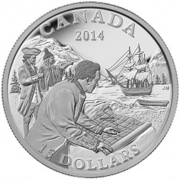 2014 Canada Fine Silver $15 Coin - Exploring Canada: The West Coast Exploration