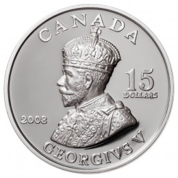 2008 Canada Sterling Silver $15 Coin - Vignettes of Royalty: King George V