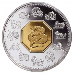 2001 Canadian $15 Chinese Lunar Calendar: Year of the Snake Sterling Silver & Gold-plated Cameo Coin