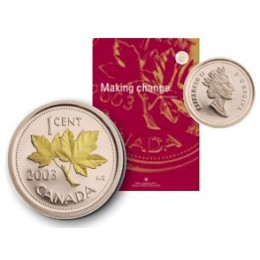 2003 Canada Gold Plated 1 Cent Proof Coin with Annual Report