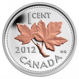 2012 Canada Fine Silver 1 Cent Coin with Gold Plating - Farewell to the Penny