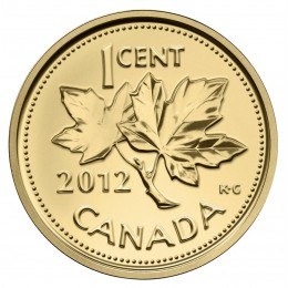 2012 Canada Pure Gold 1 Cent Coin - Farewell to the Penny