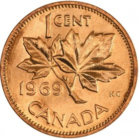 1969 Canadian 1-Cent Maple Leaf Twig Penny Coin (Brilliant Uncirculated)