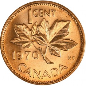 1970 Canadian 1-Cent Maple Leaf Twig Penny Coin (Brilliant Uncirculated)