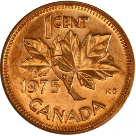 1975 Canadian 1-Cent Maple Leaf Twig Penny Coin (Brilliant Uncirculated)