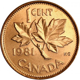 1981 Canadian 1-Cent Maple Leaf Twig Penny Coin (Brilliant Uncirculated)