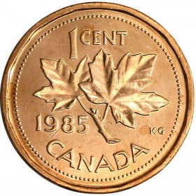 1985 Canadian 1-Cent Maple Leaf Twig Penny Coin (Brilliant Uncirculated)
