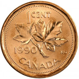 1990 Canadian 1-Cent Maple Leaf Twig Penny Coin (Brilliant Uncirculated)