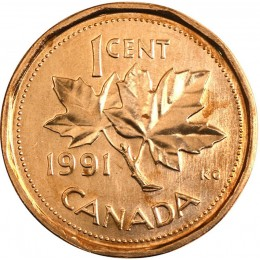 1991 Canadian 1-Cent Maple Leaf Twig Penny Coin (Brilliant Uncirculated)