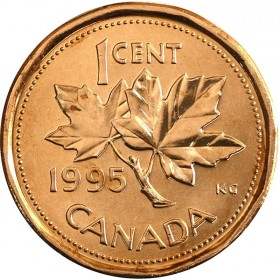 1995 Canadian 1-Cent Maple Leaf Twig Penny Coin (Brilliant Uncirculated)