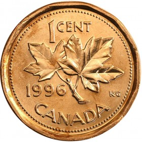 1996 Canadian 1-Cent Maple Leaf Twig Penny Coin (Brilliant Uncirculated)
