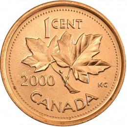2000 Canadian 1-Cent Maple Leaf Twig Penny Coin (Brilliant Uncirculated)
