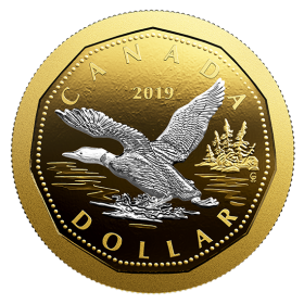 2019 Canadian $1 Big Coin Series: Flying Loon Dollar 5 oz Fine Silver & Gold-plated Coin