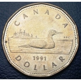 1991 Canadian $1 Common Loon (Brilliant Uncirculated)
