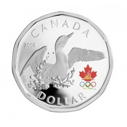 2008 Canada Proof Sterling Silver $1 Dollar Coin - Lucky Loonie: Olympic Loon Dance
