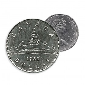 1983 Canadian $1 Voyageur Dollar Coin (Circulated)