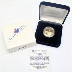 1992 (1867-) Canadian $1 Parliament/Confederation 125th Anniv Proof Loonie Dollar Coin