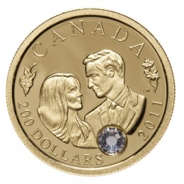 2011 Canadian $200 The Wedding Celebration HRH Prince William & Miss Catherine Middleton 22-karat Gold Coin
