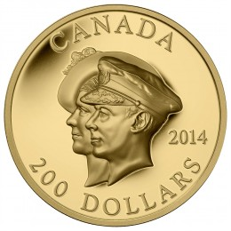 2014 Canadian $200 75th Anniversary of the First Royal Visit - Pure Gold Coin (Ultra-High Relief)