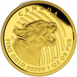 2015 Canada 1 oz Pure Gold $200 Coin - Growling Cougar