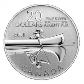 2011 Canada Fine Silver $20 Coin - $20 for $20: Canoe-no cardboard holder just coin in capsule