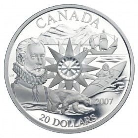 2007 Canadian $20 International Polar Year 125th Anniv Sterling Silver Coin