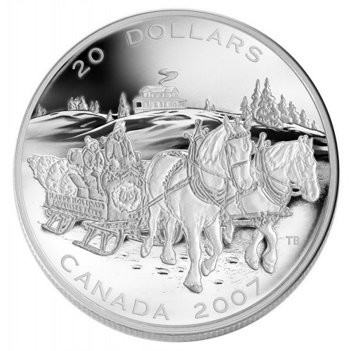 2007 Canadian $20 Holiday Sleigh Ride 1 oz Fine Silver Coin