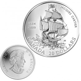 2009 Canada Fine Silver $20 Coin - 475th Anniversary of Jacques Cartiers