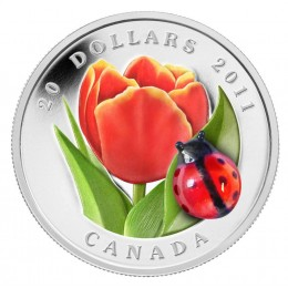 2011 Canada $20 Venetian Glass Tulip with Ladybug 1 oz Fine Silver Coin
