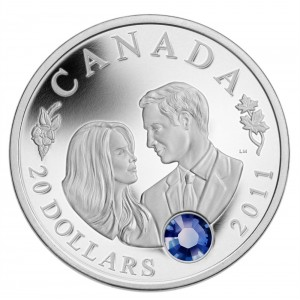 2011 Canadian $20 The Wedding Celebration HRH Prince William & Miss Catherine Middleton 1 oz Fine Silver Coin