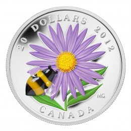 2012 Canada $20 Aster with Venetian Glass Bumblebee 1 oz Fine Silver Coin