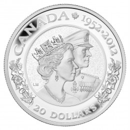 2012 Canada Fine Silver $20 Coin - Queen's Diamond Jubilee (Double Effigy)