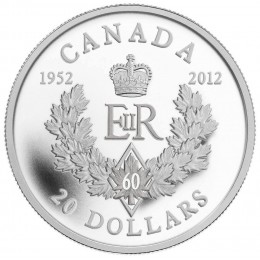 2012 Canada Fine Silver $20 Coin - Queen's Diamond Jubilee Royal Cypher