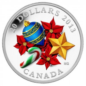 2013 Canada $20 Holiday Season with Venetian Glass Candy Cane 1 oz Fine Silver Coin