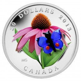 2013 Canadian $20 Purple Coneflower with Venetian Glass Butterfly - 1 oz Fine Silver Coin
