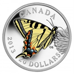2013 Canada Fine Silver $20 Coin - Butterflies of Canada: Canadian Tiger Swallowtail
