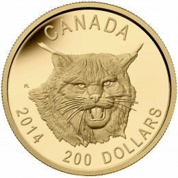 2014 Canada Pure Gold $200 Coin - The Fierce Canadian Lynx