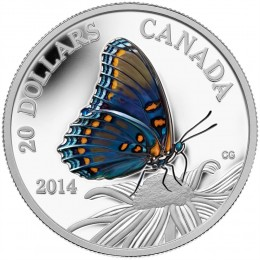 2014 Canada Fine Silver $20 Coin - Butterflies of Canada: Red-Spotted Purple Butterfly
