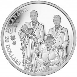 2014 Canadian $20 Royal Generations: Her Majesty Queen Elizabeth II, Prince Charles, Prince William and Prince George - 1 oz Fine Silver Coin