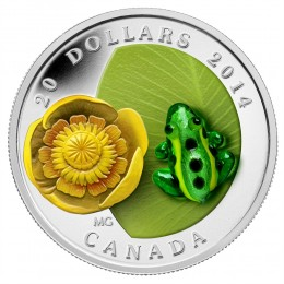 2014 Canadian $20 Water-lily and Venetian Glass Leopard Frog - 1 oz Fine Silver Coin