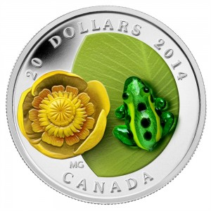 2014 Canada $20 Venetian Glass Water-Lily And Leopard Frog 1 oz Fine Silver Coin