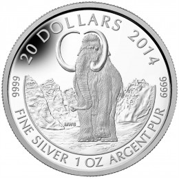 2014 Canada Fine Silver $20 Coin - Prehistoric Animals: The Woolly Mammoth
