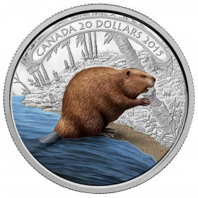 2015 Canada Fine Silver $20 Coin - Beaver at Work