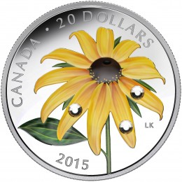 2015 Canadian $20 Black-eyed Susan with Swarovski® Crystal Dew Drops 1 oz Fine Silver Coloured Coin