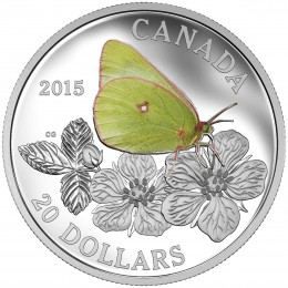 2015 Canadian $20 Butterflies of Canada: Giant Sulphur - 1 oz Fine Silver Coloured Coin